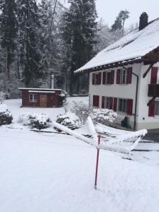 Snow on clothesline