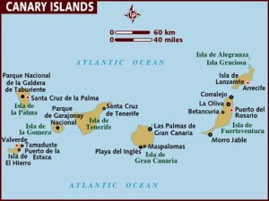 Lonely Planet map of the Canary Islands. West Africa is less than 150km to the east