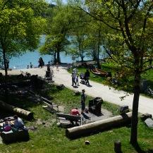 People enjoying the facilities and sunshine